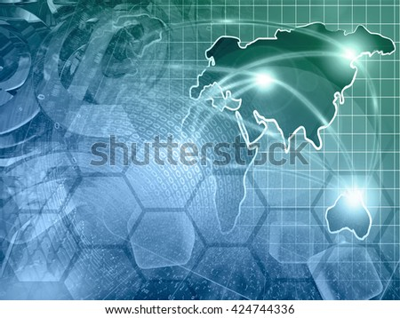 Computer background with mail signs, map and digits, in greens and blues. - stock photo