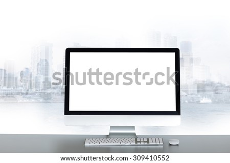 Computer blank screen with large window looking on city - stock photo