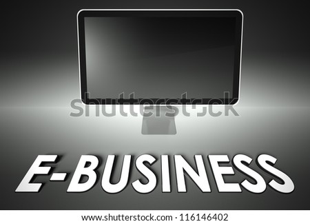 Computer blank screen with word E-business, copyspace - stock photo