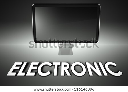 Computer blank screen with word Electronic, copyspace - stock photo