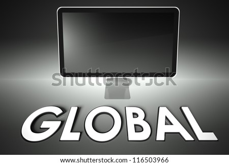 Computer blank screen with word Global, copyspace - stock photo