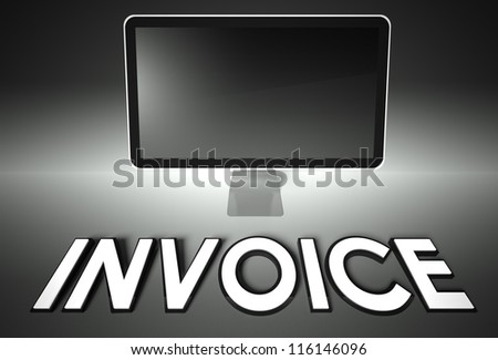 Computer blank screen with word Invoice, copyspace - stock photo