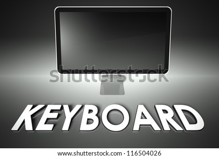 Computer blank screen with word Keyboard, copyspace - stock photo