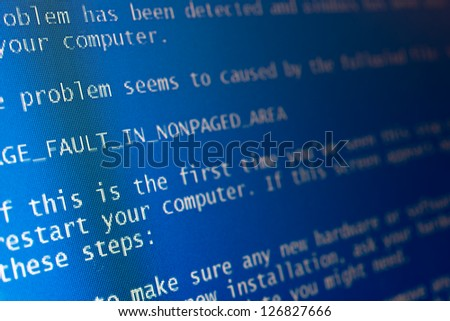 Computer blue Screen of Death - stock photo