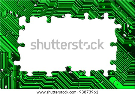 Computer board made of puzzle - technology concept background - stock photo