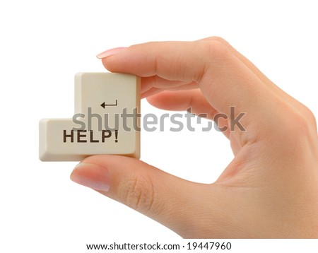 Computer button Help in hand isolated on white background - stock photo