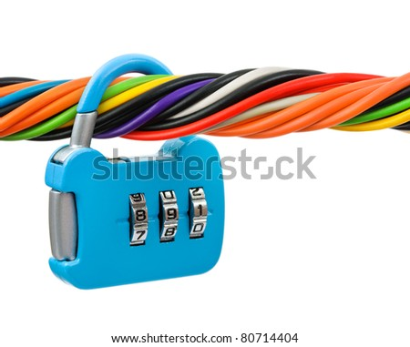 Computer cable and lock isolated on white background - stock photo