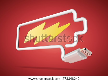Computer cable and plug bends to make the shape of a battery icon with an electrical lightening bolt. - stock photo
