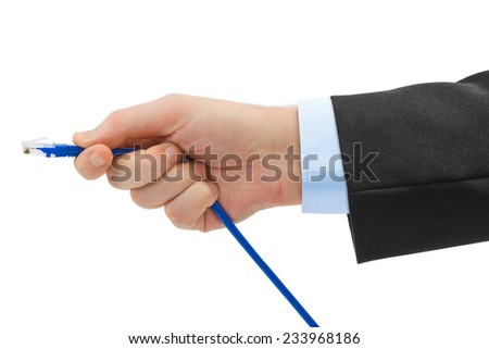 Computer cable in hand isolated on white background - stock photo