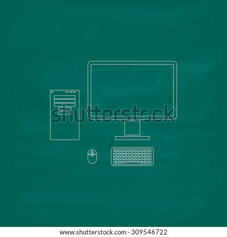Computer case with monitor, keyboard and mouse. Outline icon. Imitation draw with white chalk on green chalkboard. Flat Pictogram and School board background. Illustration symbol - stock photo