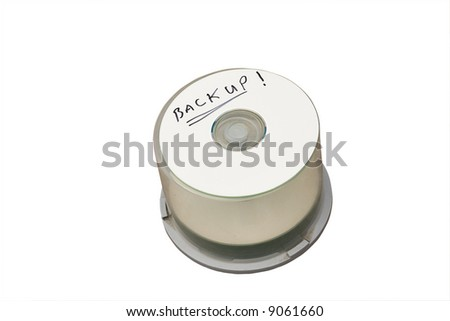computer cd disk with backup written with marker pen - stock photo