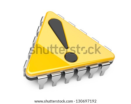 Computer chip in the form of a triangle with exclamation sign - stock photo
