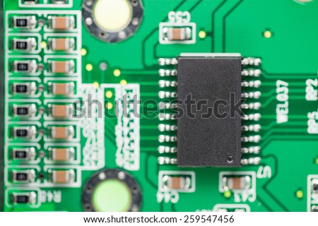 Computer Chip. Microcircuit from a modem to connect to the Internet. Background.