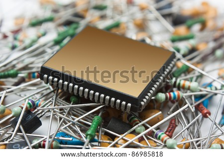 computer chip on the background of electronic components - stock photo