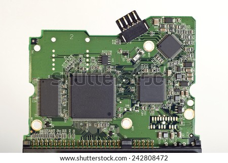 Computer Circuit Board Close Up - stock photo