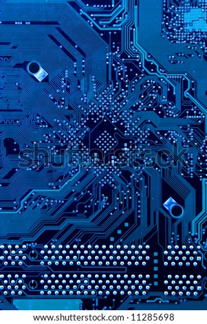 Computer circuit board in cold blue