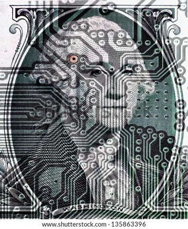 Computer circuitry on a U.S. one dollar bill. - stock photo