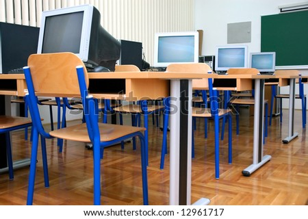 Computer clasroom waiting new students in new school - stock photo