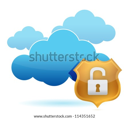 computer cloud unprotected by gold shield illustration - stock photo