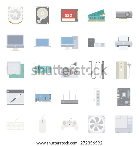 Computer components and peripherals color flat icons set graphic illustration - stock photo