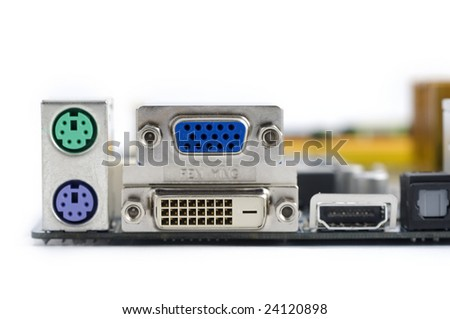 Computer connectors on the motherboard - stock photo