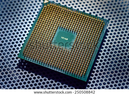 computer cpu (central processor unit) chip from close-up - stock photo