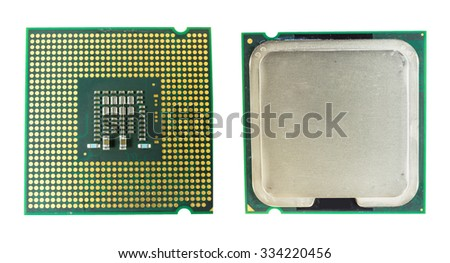Computer CPU Chip back and front - stock photo