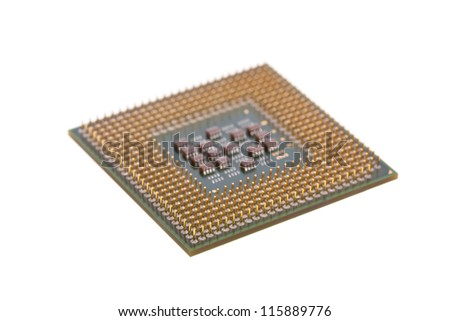 Computer CPU isolated on a white background - stock photo