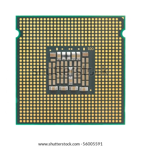 Computer CPU isolated on white background - stock photo