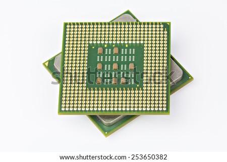 Computer CPU Processor Chip - stock photo