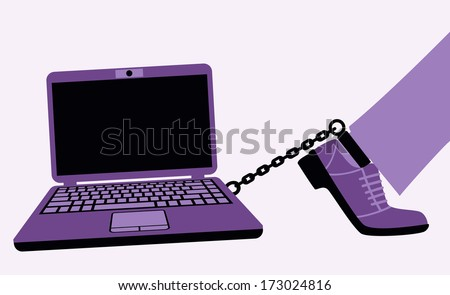 Computer craze may develop into a harmful addiction. Bitmap copy. - stock photo