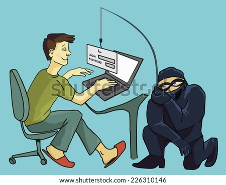 Computer Crime: Internet Phishing a login and password concept business concept of internet scam with phising - stock photo