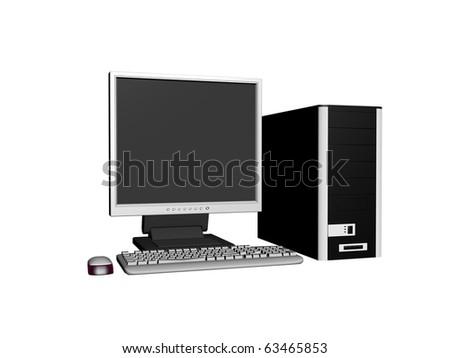 Computer . 3D render - stock photo