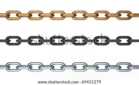 Computer 3D rendering of three chains isolated on white background - stock photo