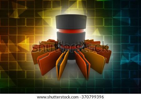 Computer Database with Folder - stock photo
