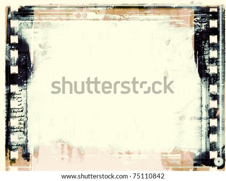 Computer designed highly detailed grunge film frame  with space for your text or image. - stock photo