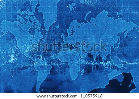 Computer designed highly detailed grunge paper world map background - stock photo