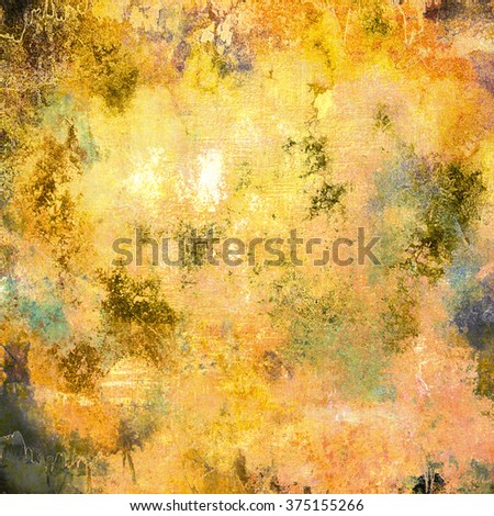 Computer designed impressionist style vintage texture or background. With different color patterns:green; brown; yellow - stock photo