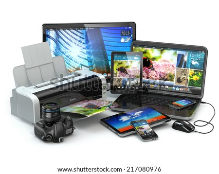 Computer devices. Mobile phone, laptop, printer, camera and tablet pc. 3d - stock photo