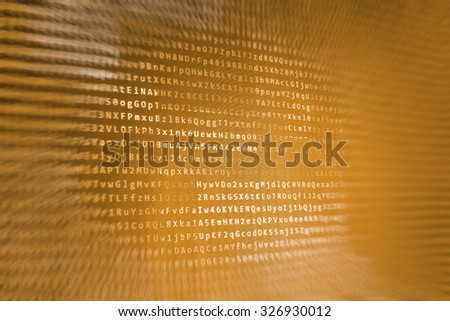 Computer digital background. Hi-tech modern screen of data, digits and chars on monitor display. Internet connection stream flow concept. Shallow depth of field, selective focus effect. - stock photo