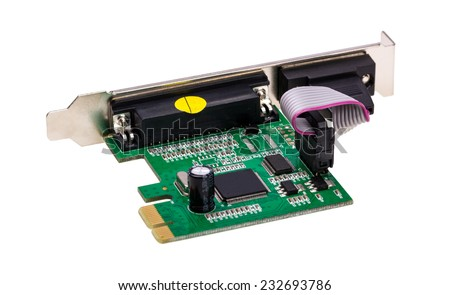 Computer digital input output port card isolated on white background - stock photo