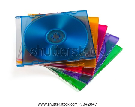 Computer disks in multiciolored boxes, isolated on white background
