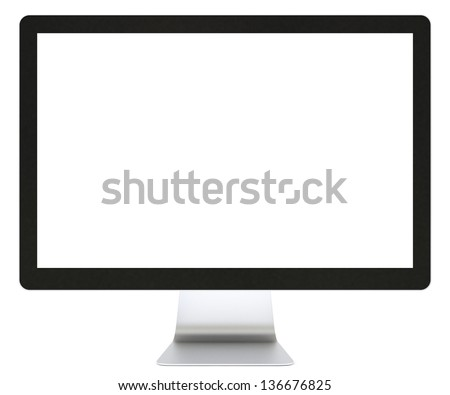Computer display isolated on white