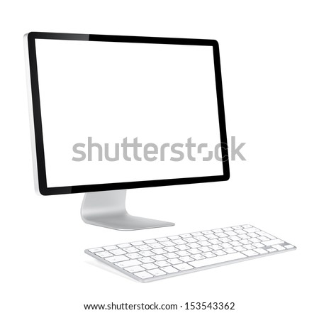 Computer display with blank screen and wireless keyboard. Front view. Isolated on white background - stock photo