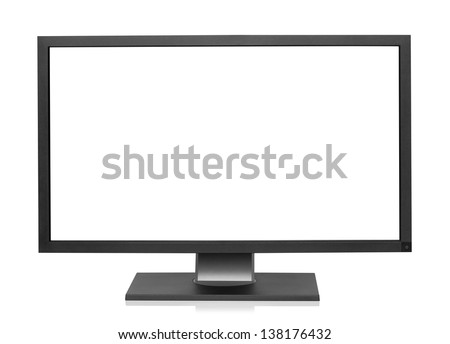 Computer display with blank white screen, isolated on the white background, clipping path included. - stock photo