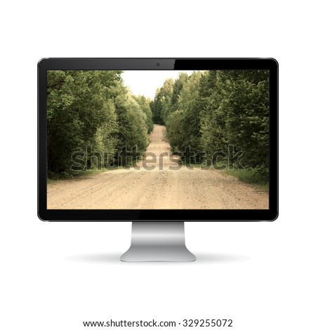 Computer display with country road on screen - stock photo