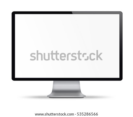 Computer display with white blank screen. Front view. Isolated on white background. 3D illustration.