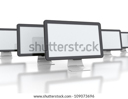 computer displays with multiple images isolated on white background - stock photo