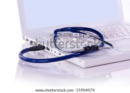 Computer doctor. conect in USB - stock photo