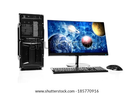Computer. Elements of this image furnished by NASA. - stock photo